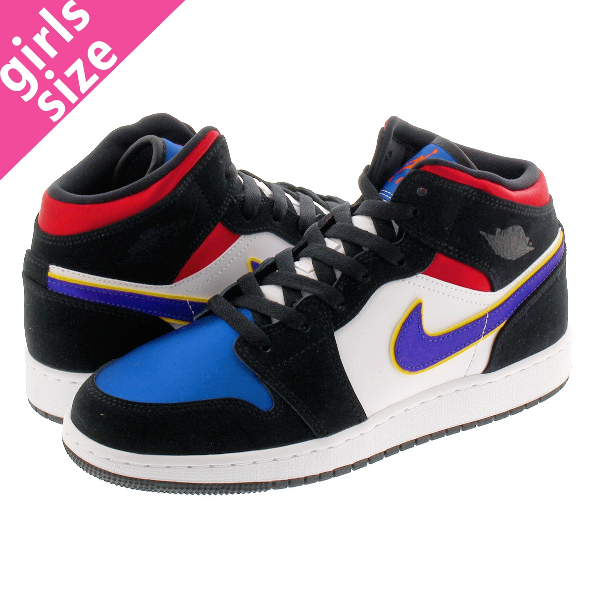 buy popular 2c4a1 8b25d NIKE AIR JORDAN 1 MID BG Nike Air Jordan 1 mid BG BLACK/FIELD  PURPLE/WHITE/GYM RED bq6931-005