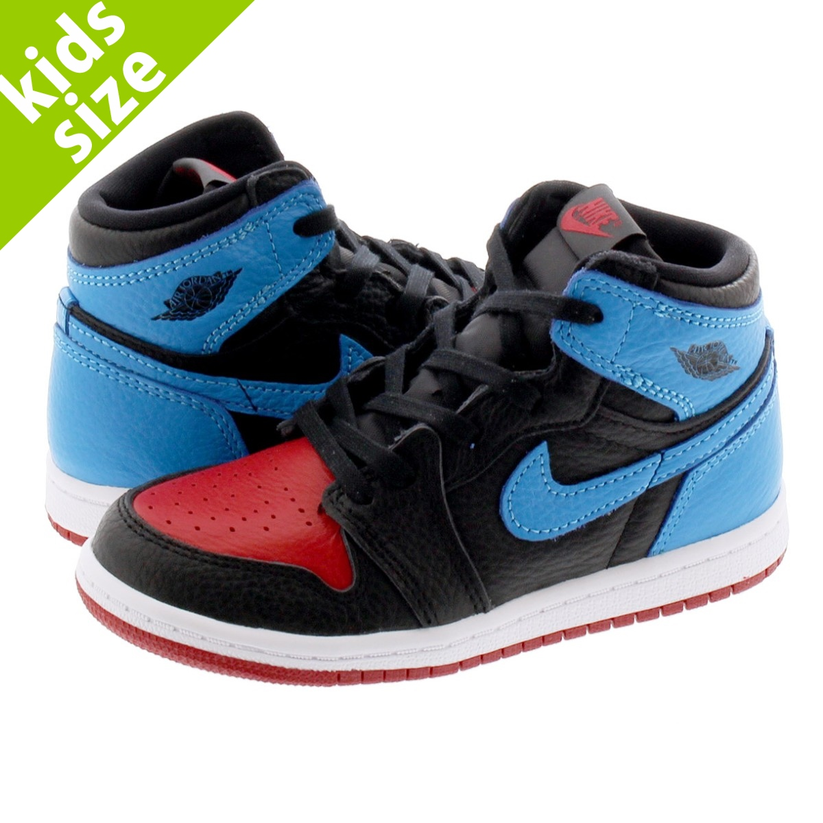 【キッズサイズ】【8.0~16.0cm】 NIKE AIR JORDAN 1 HIGH OG TD 【UNC TO CHICAGO】 ナイキ エア ジョーダン 1 ハイ OG TD BLACK/DK POWDER BLUE/GYM RED cu0450-046
