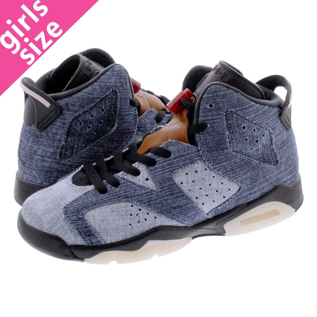 NIKE AIR JORDAN 6 RETRO GS ナイキ エア ジョーダン 6 レトロ GS WASHED DENIM/SAIL/VARSITY RED/BLACK cv5489-401