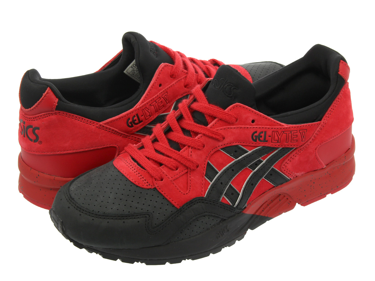 red and black asics