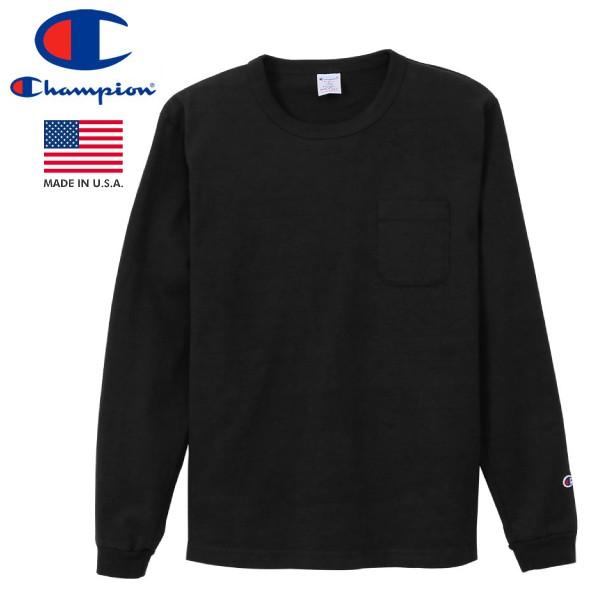CHAMPION T1011 LONG SLEEVE T-SHIRT POCKET 【MADE IN U.S.A.】 チャンピオン T1011 ロングスリーブ Tシャツ ポケット BLACK