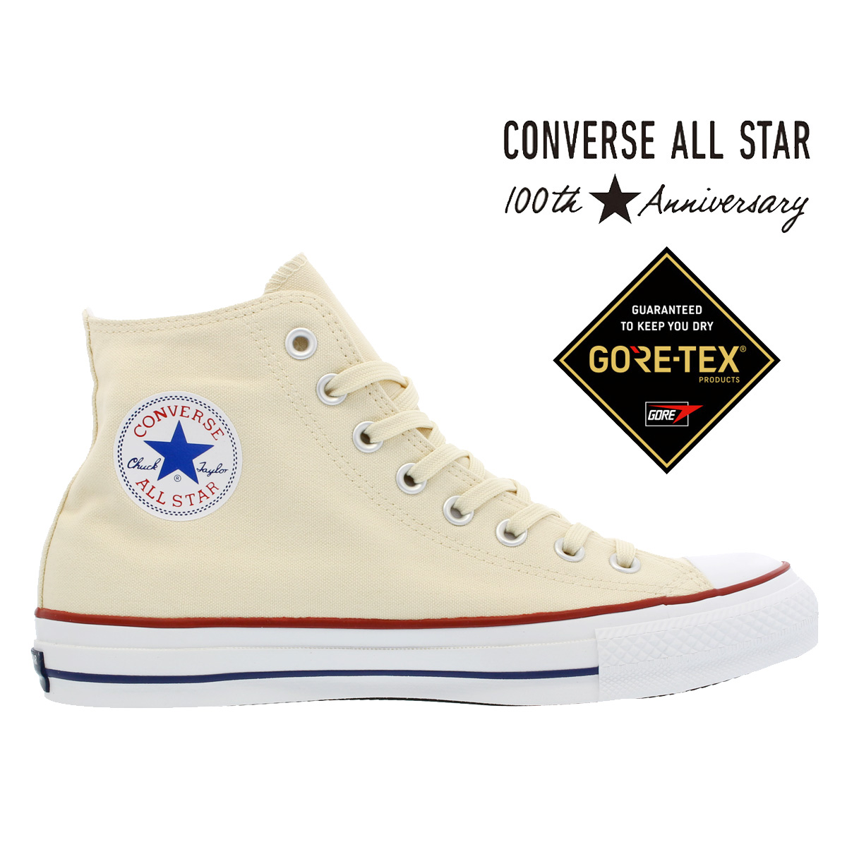 CONVERSE ALL STAR 100 GORE-TEX HI 【100周年】 【100th ANNIVERSARY】 コンバース オールスター 100 ゴア テックス HI NATURAL WHITE