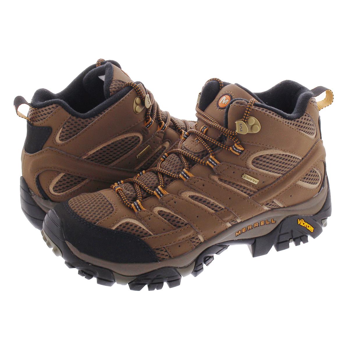 送料無料 MERRELL メレル スニーカー 靴 防水 メンズ アウトドア ハイキングシューズ 登山 フェス MID GORE-TEX MOAB 2 ゴアテックス お得セット ミッド 贈り物 ブラウン モアブ 茶 j06063 EARTH