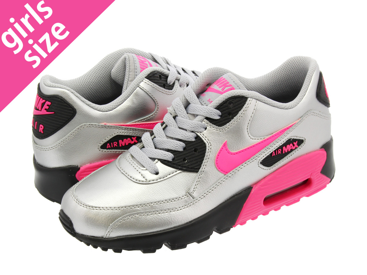 NIKE AIR MAX 90 LEATHER GS Kie Ney AMAX 90 sneakers Lady's light blue 833,376 406