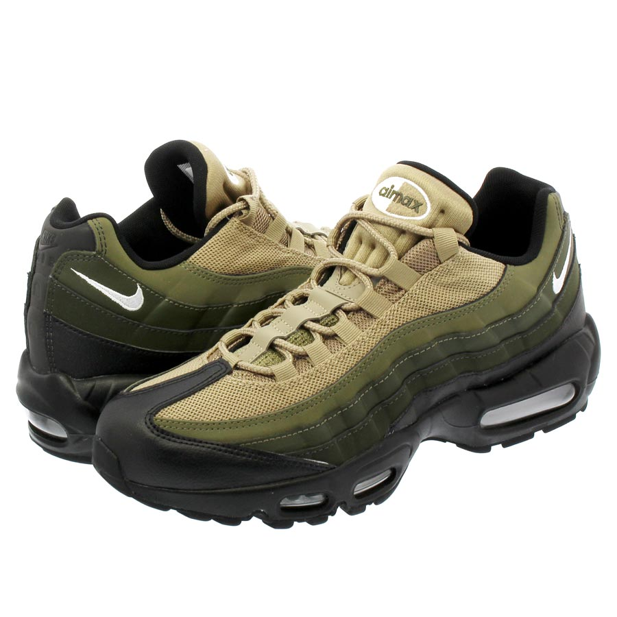 NIKE AIR MAX 95 ESSENTIAL Kie Ney AMAX 95 essential BLACK WHITE SEQUOIA CARGO  KHAKI 9614eec62