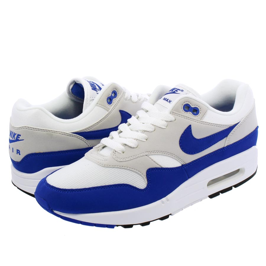 best website 54299 2a578 NIKE AIR MAX 1 ANNIVERSARY Kie Ney AMAX 1 anniversary WHITE GAME ROYAL NEUTRAL  GREY BLACK