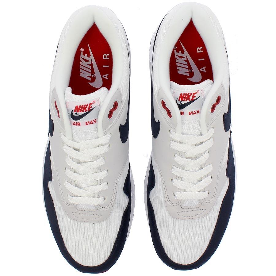 Advanced Nike Air Max 1 Anniversary White Dark Obsidian Neutral Grey Black 908375 104 Sneakers Men's Running Shoes