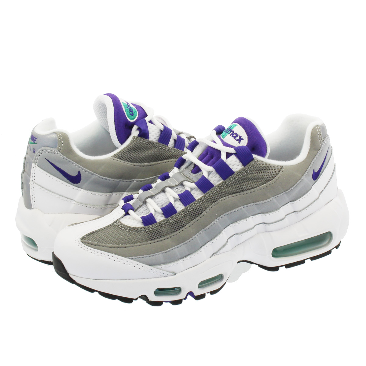 promo code 9354a fc2dc NIKE WMNS AIR MAX 95 Nike women Air Max 95 WHITE COURT PURPLE EMERALD GREEN WOLF  GREY