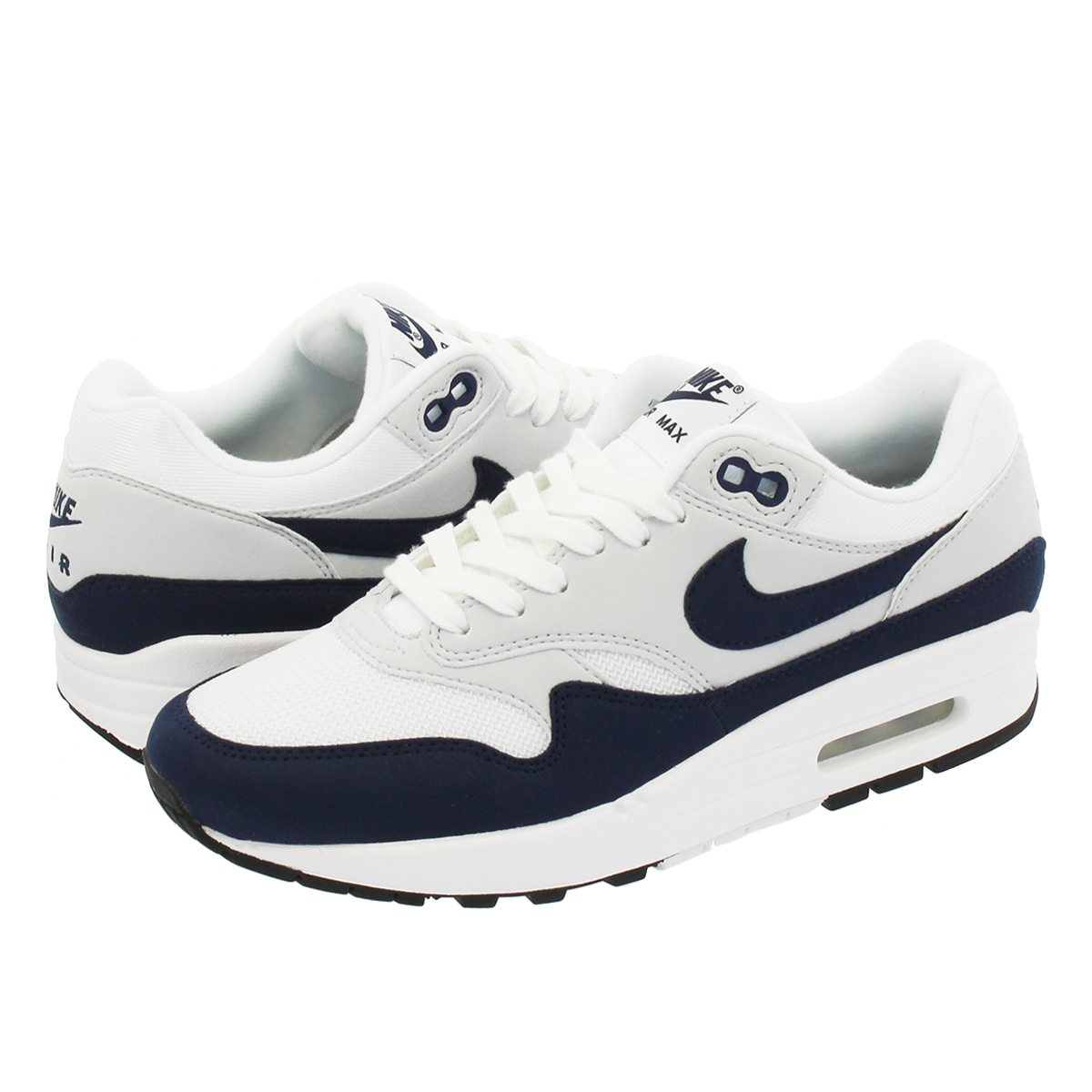 NIKE WMNS AIR MAX 1 Nike women Air Max 1 WHITE OBSIDIAN PURE PLATINUM BLACK  319 fa5b8add1
