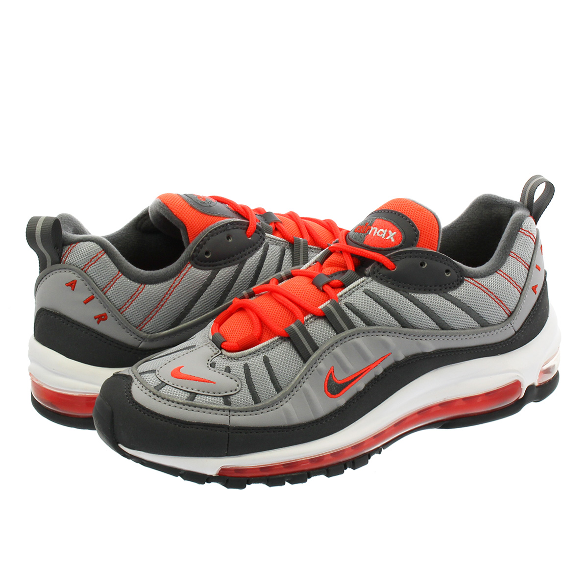 【お買い物マラソンSALE】 NIKE AIR MAX 98 ナイキ エア マックス 98 WOLF GREY/DARK GREY/TOTAL CRIMSON/HABANERO RED/WHITE