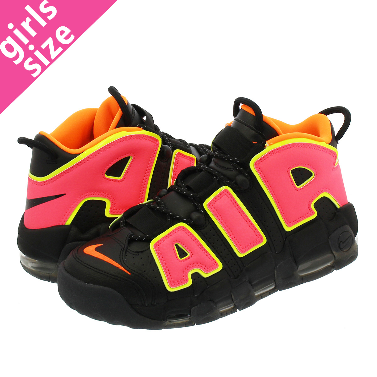 low priced a26a4 9d503 NIKE WMNS AIR MORE UPTEMPO Nike women air more up tempo BLACK HOT PUNCH VOLT TOTAL  ORANGE 917593-002-l