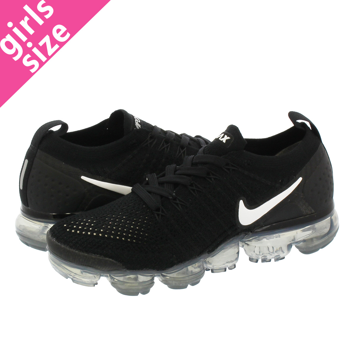 sale retailer 426b6 24e28 NIKE WMNS AIR VAPORMAX FLYKNIT 2 Nike women vapor max fried food knit  BLACK/WHITE/DARK GREY/METALLIC SILVER 942,843-001