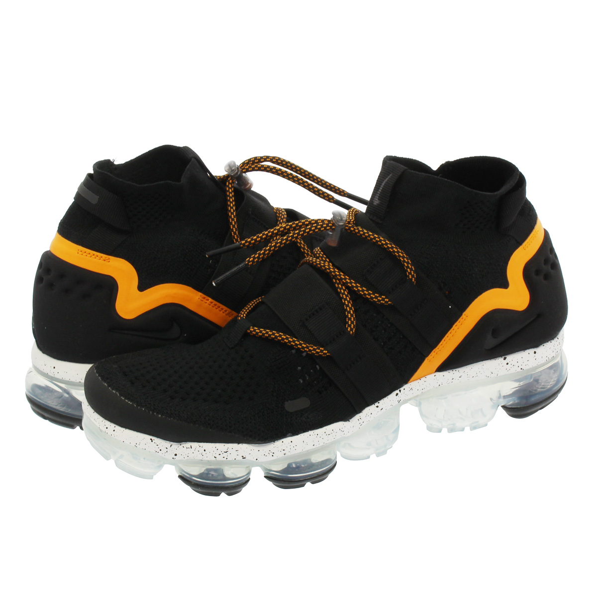 size 40 49186 d83ce NIKE AIR VAPORMAX FLYKNIT UTILITY Nike vapor max fried food knit utility  BLACK/ORANGE PEEL