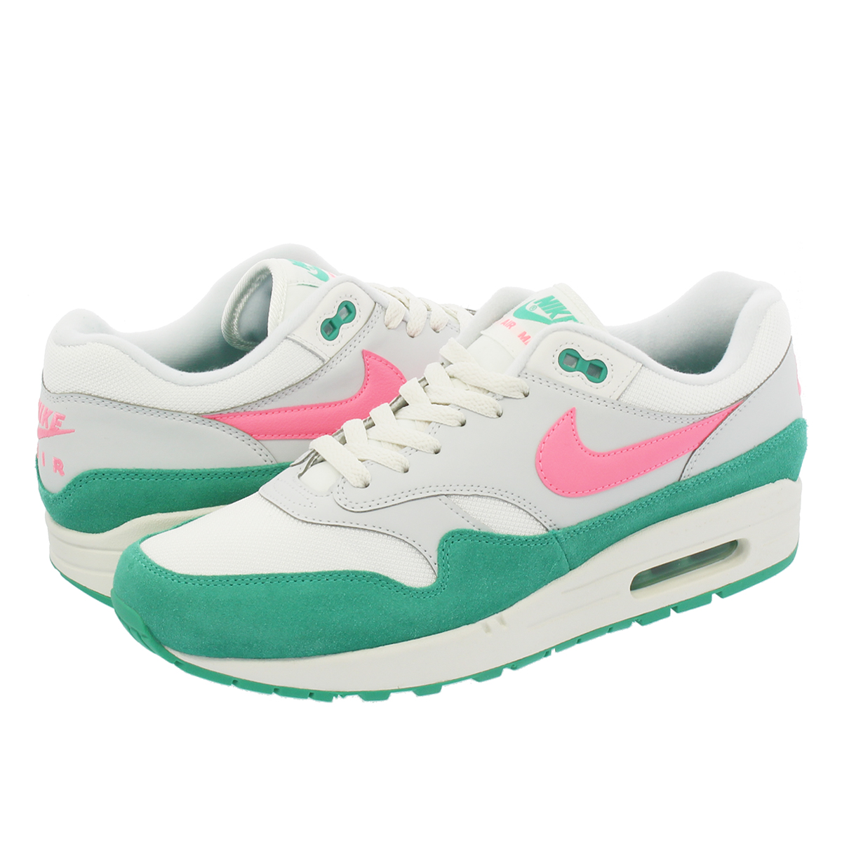NIKE AIR MAX 1 Kie Ney AMAX 1 SUMMIT WHITE SUNSET PULSE KINETIC GREEN f962b3930a1d