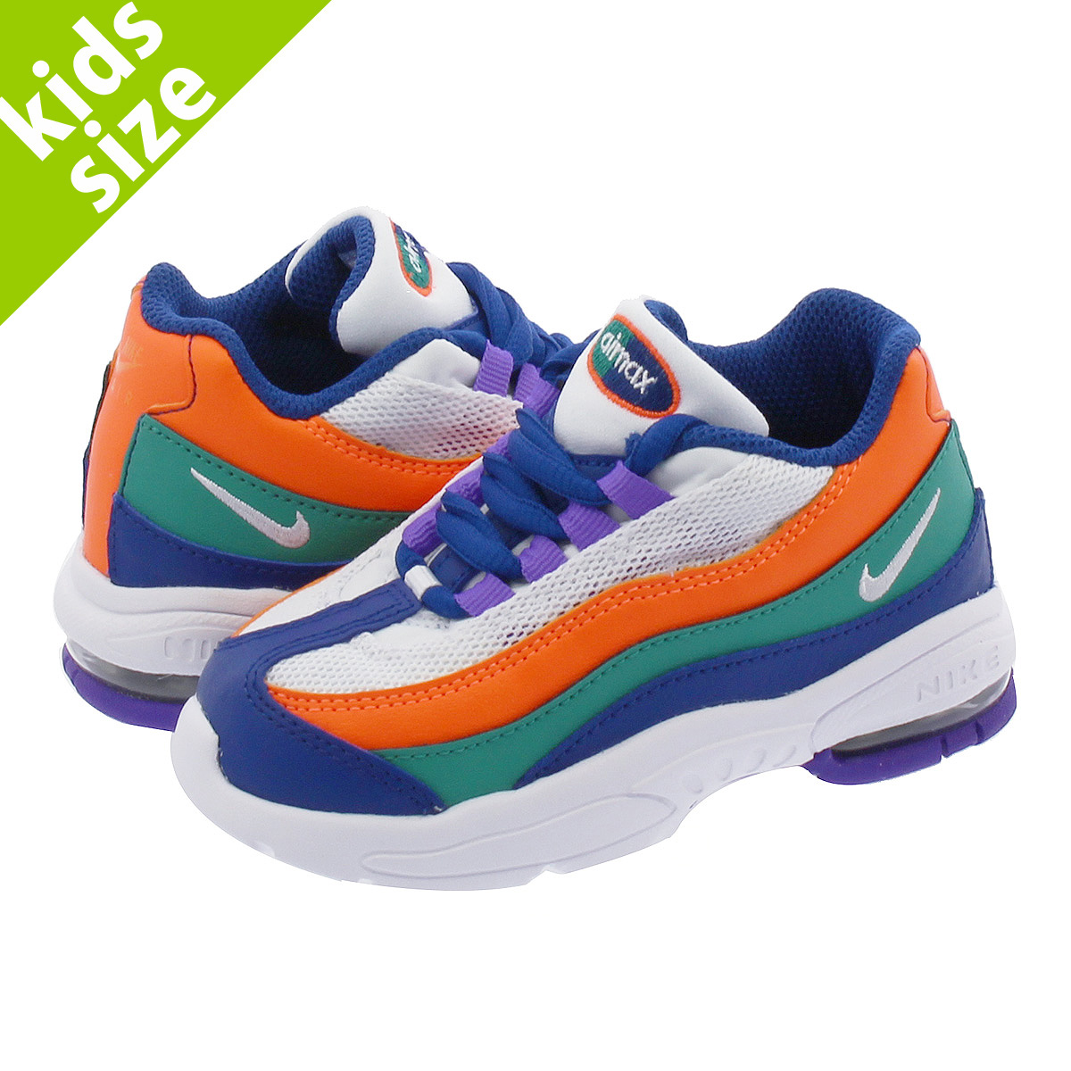 blue green and orange air max 95