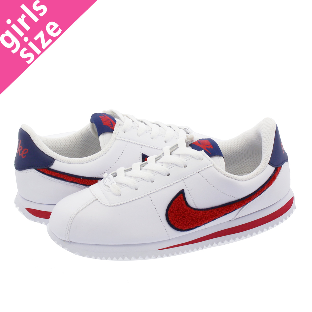 09fe8763 NIKE CORTEZ LEA SE GS ナイキコルテッツレザー SE GS WHITE/BLUE VOID/UNIVERSITY RED  aa3496-100