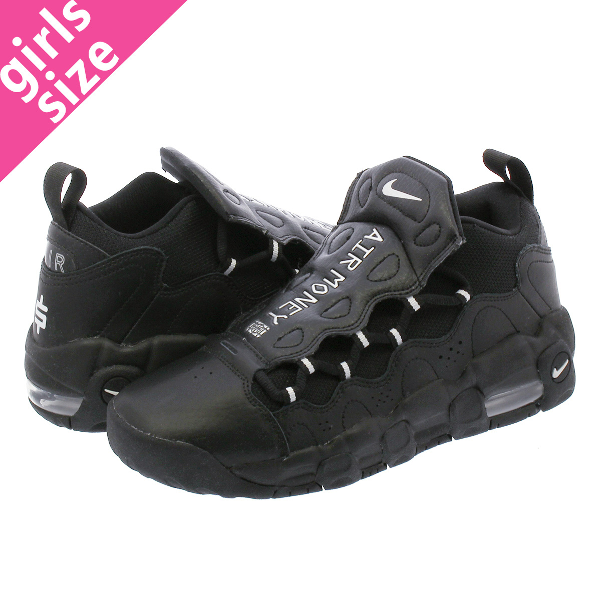 9bbddad91176 NIKE AIR MORE MONEY GS Nike air more money GS BLACK METALLIC SILVER ah5215 -001