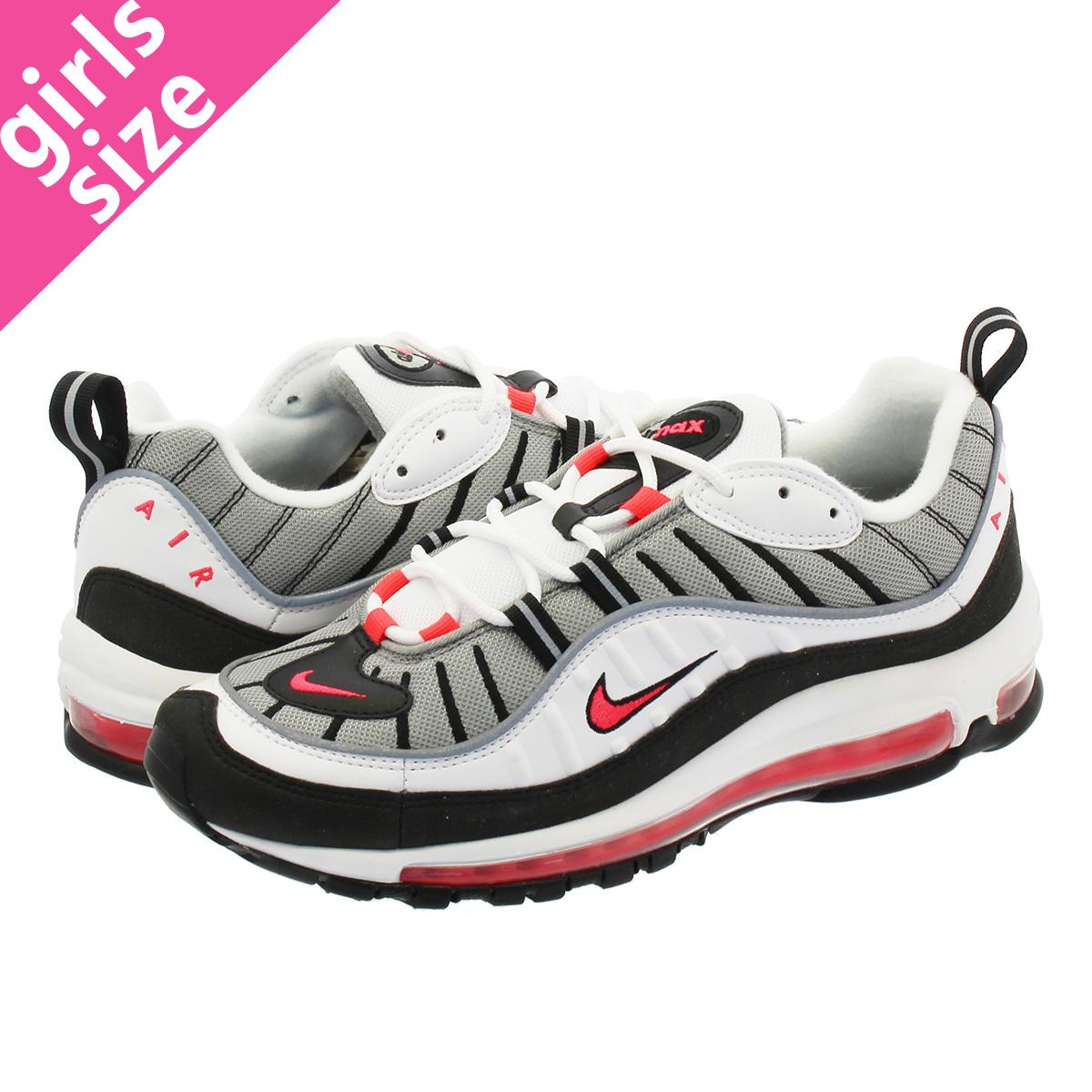 low priced 7fcb1 c2d36 NIKE WMNS AIR MAX 98 Nike women Air Max 98 WHITE/SOLAR RED/DUST/REFLECT  SILVER ah6799-104