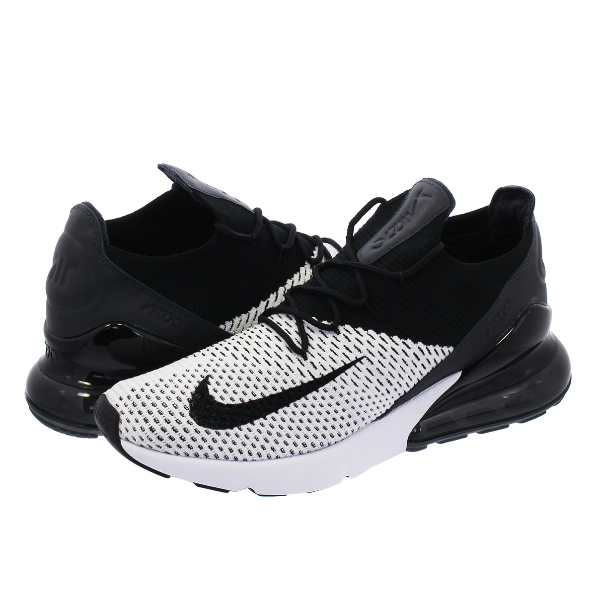ffb35c38b0 NIKE AIR MAX 270 FLYKNIT Kie Ney AMAX 270 fried food knit WHITE/BLACK/ ...
