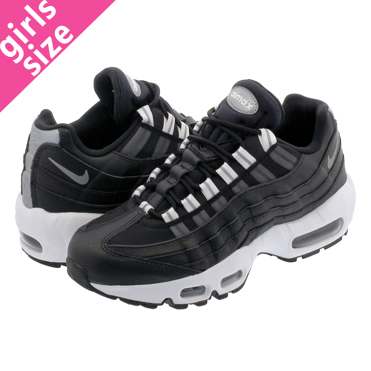 competitive price bccc7 eae09 NIKE WMNS AIR MAX 95 Nike women Air Max 95 BLACK REFLECT SILVER WHITE  307,960-020
