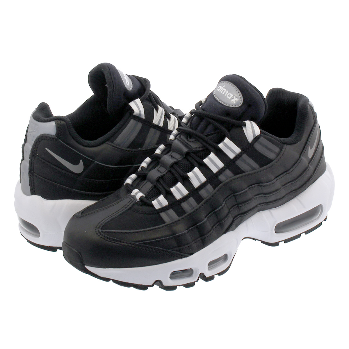 new concept e0ad8 0179f NIKE WMNS AIR MAX 95 Nike women Air Max 95 BLACK REFLECT SILVER WHITE ...