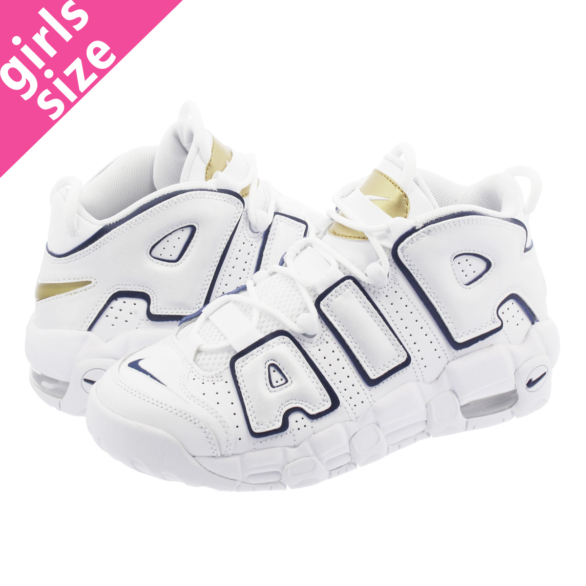 85671c68f8b NIKE AIR MORE UPTEMPO GS Nike more up tempo GS WHITE MIDNIGHT NAVY GOLD  415