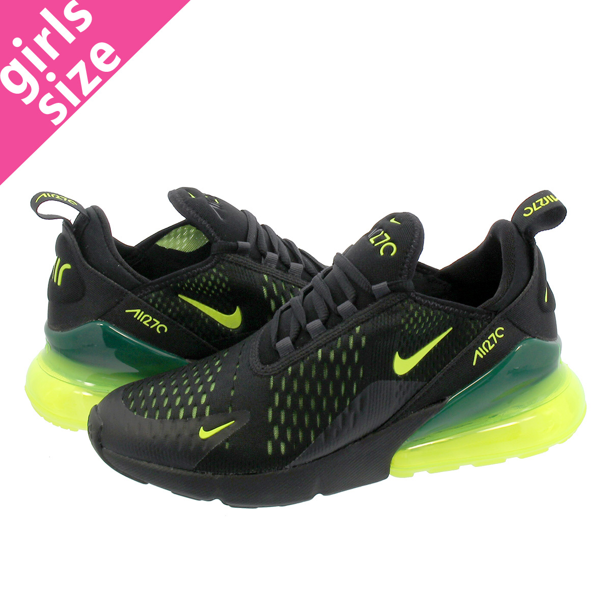 new product ea373 ae3b6 NIKE AIR MAX 270 GS Kie Ney AMAX 270 GS BLACK/NEON GREEN 943,345-011
