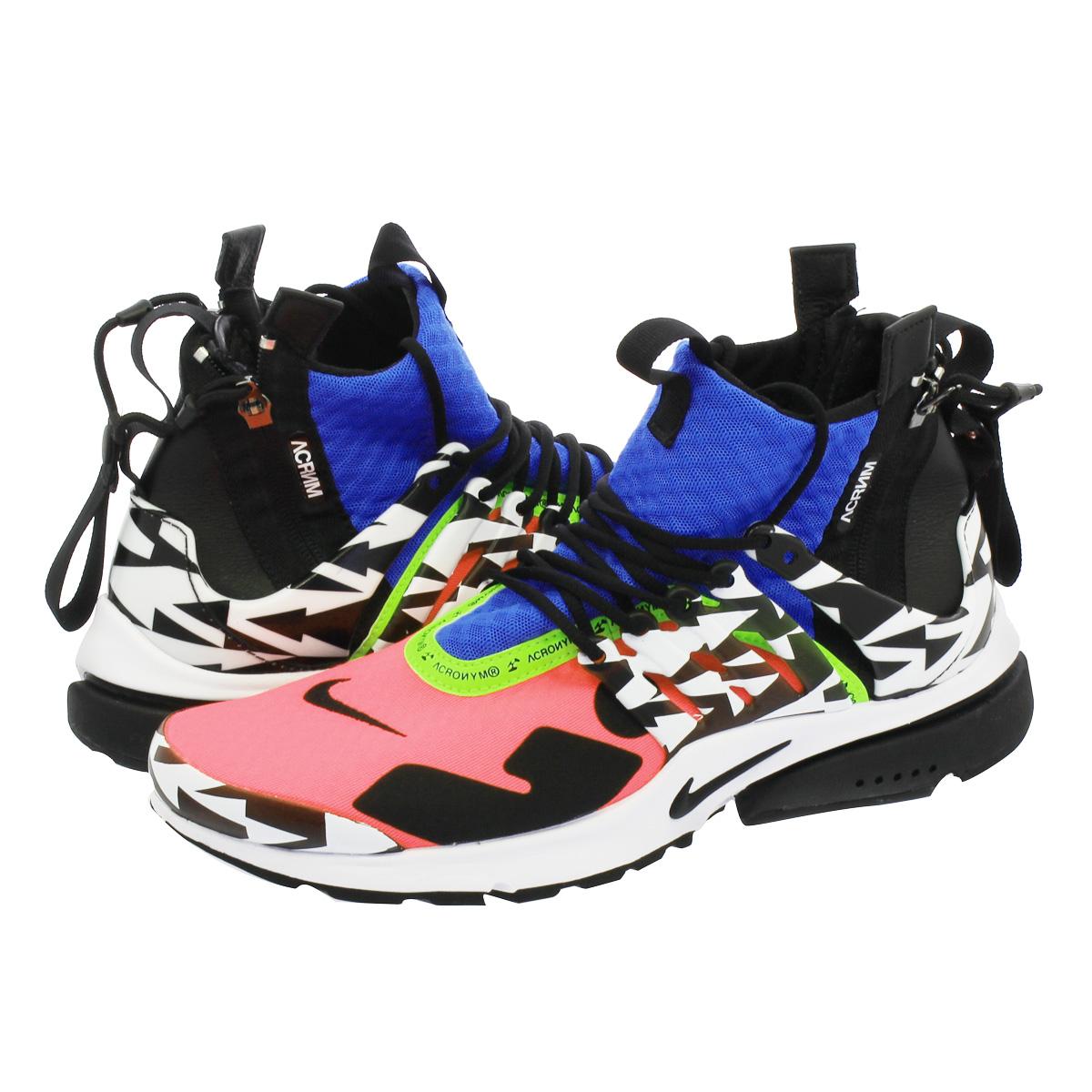 【送料無料】【NIKE ナイキ】メンズ レディース 靴 スニーカー ピンク ブラック ブルー ホワイト 白 黒 ah7832-600 【毎日がお得!値下げプライス】NIKE × ACRONYM AIR PRESTO MID ナイキ アクロニウム エア プレスト ミッド RACER PINK/BLACK/PHOTO BLUE/WHITE ah7832-600