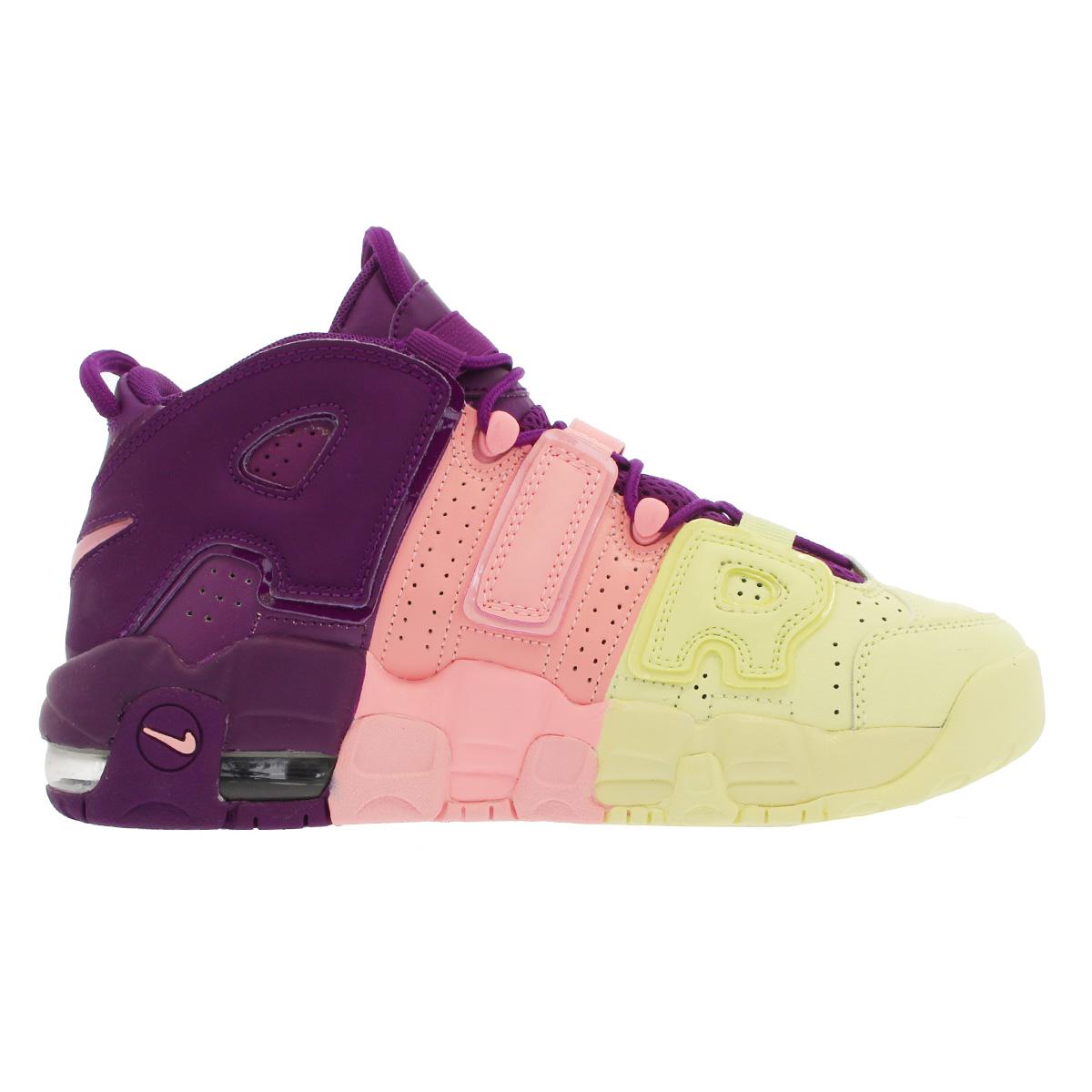 ebca59c38dc NIKE AIR MORE UPTEMPO GS Nike more up tempo GS CITRON PINK BRIGHT PURPLE NIGHT  GRAPE