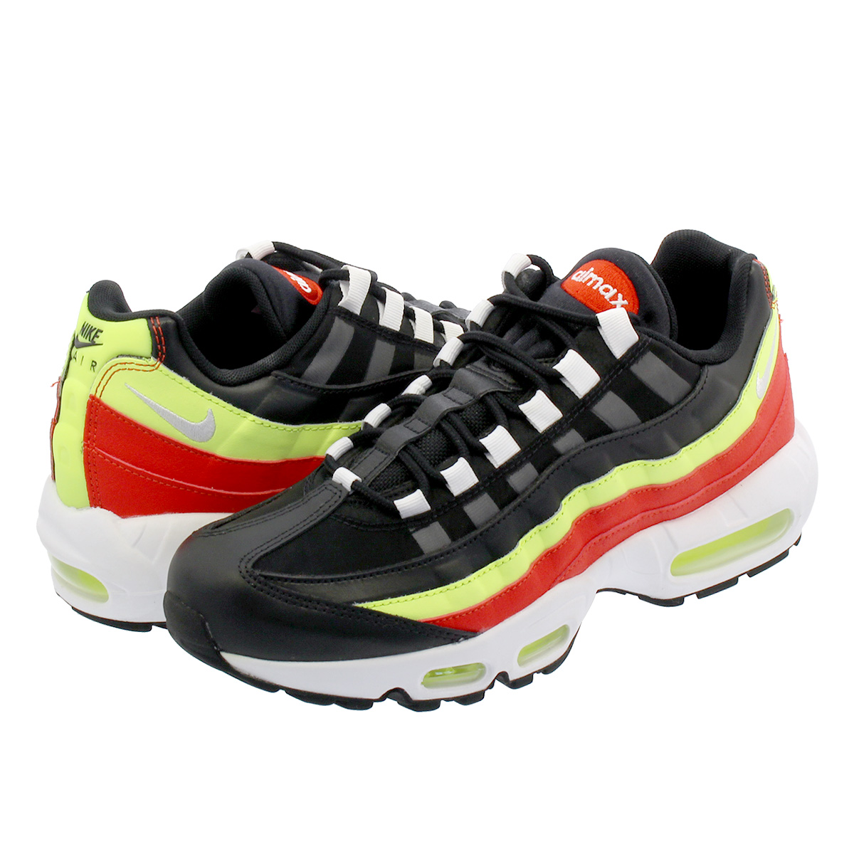buy online d8c6f 7dd6f NIKE WMNS AIR MAX 95 Nike women Air Max 95 BLACK/WHITE/HABANERO RED/VOLT  307,960-019