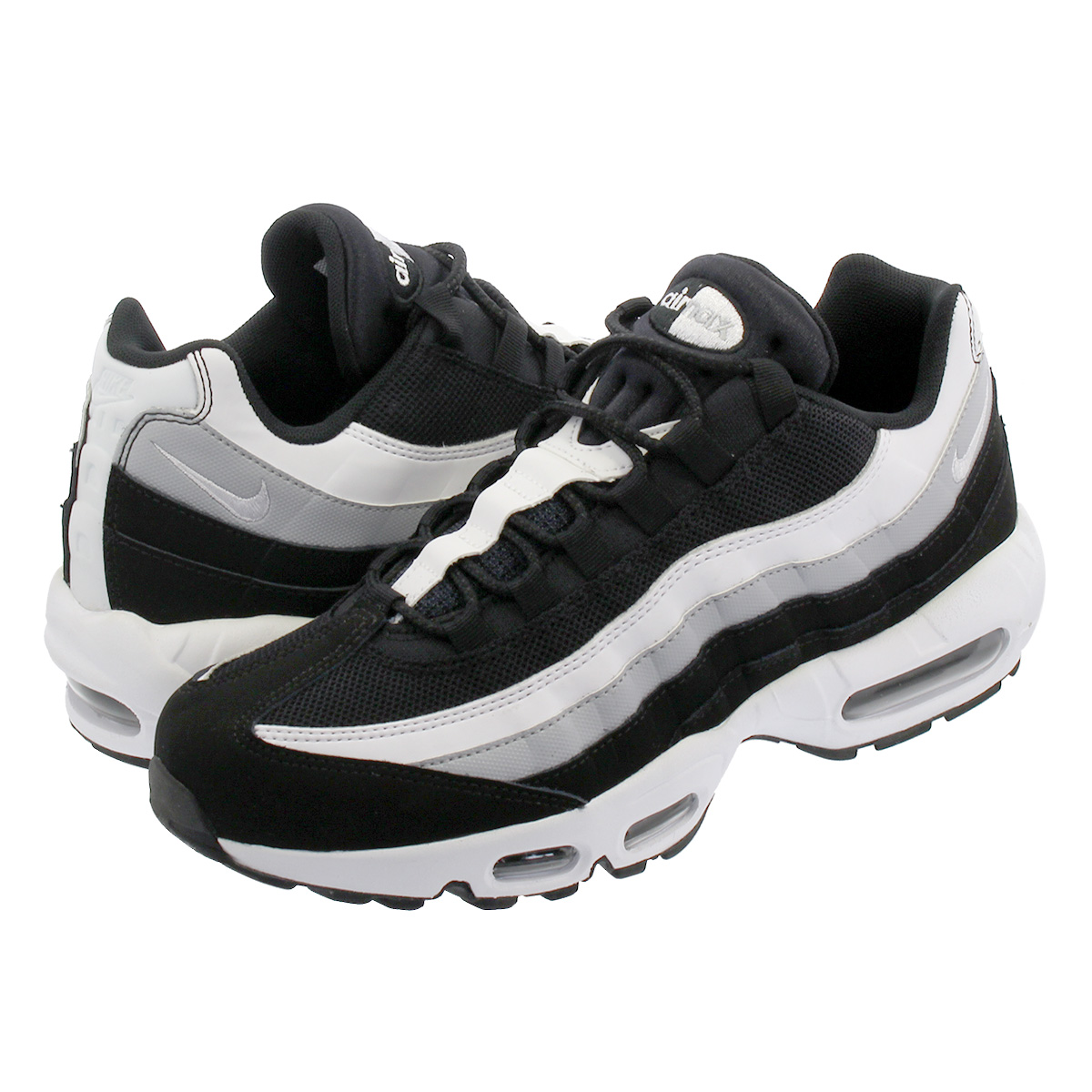 NIKE AIR MAX 95 ESSENTIAL Kie Ney AMAX 95 essential BLACK WHITE WOLF GREY  749 602c2b02e
