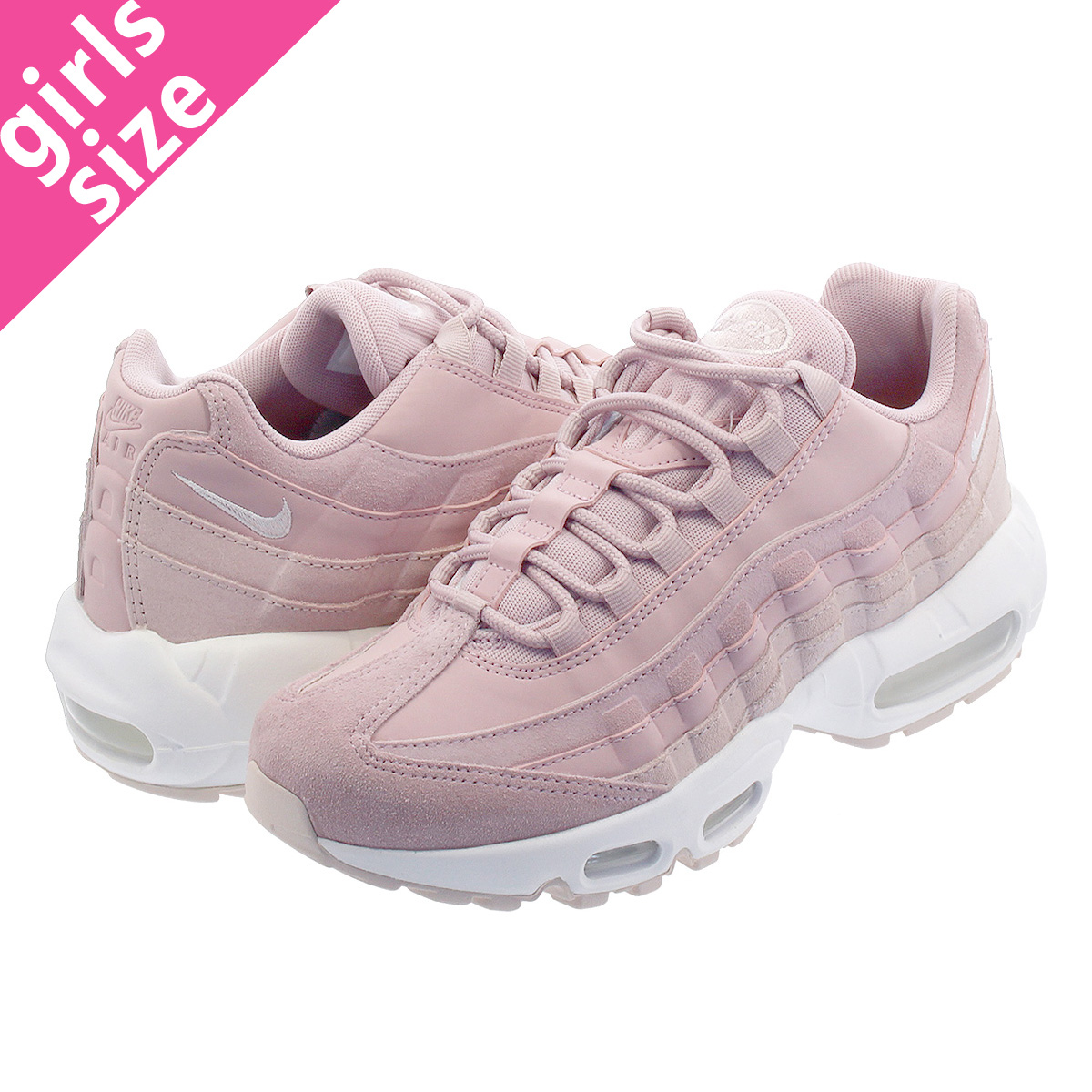 NIKE WMNS AIR MAX 95 PRM Nike women Air Max 95 premium PLUM CHALKBARELY ROSESUMMIT WHITE 807,443 503