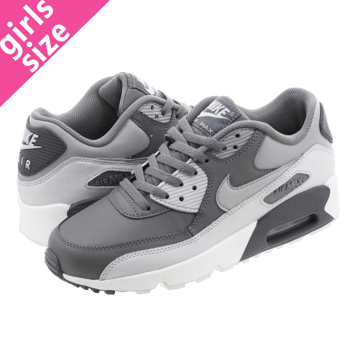 sale retailer 8e4b6 7b564 NIKE AIR MAX 90 LTR GS Kie Ney AMAX 90 leather GS COOL GREY WOLF GREY  833,412-013