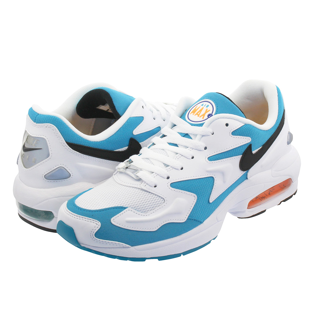 NIKE AIR MAX 2 LIGHT ナイキ エア マックス スクエア ライト WHITE/BLACK/BLUE LAGOON/LASER ORANGE ao1741-100