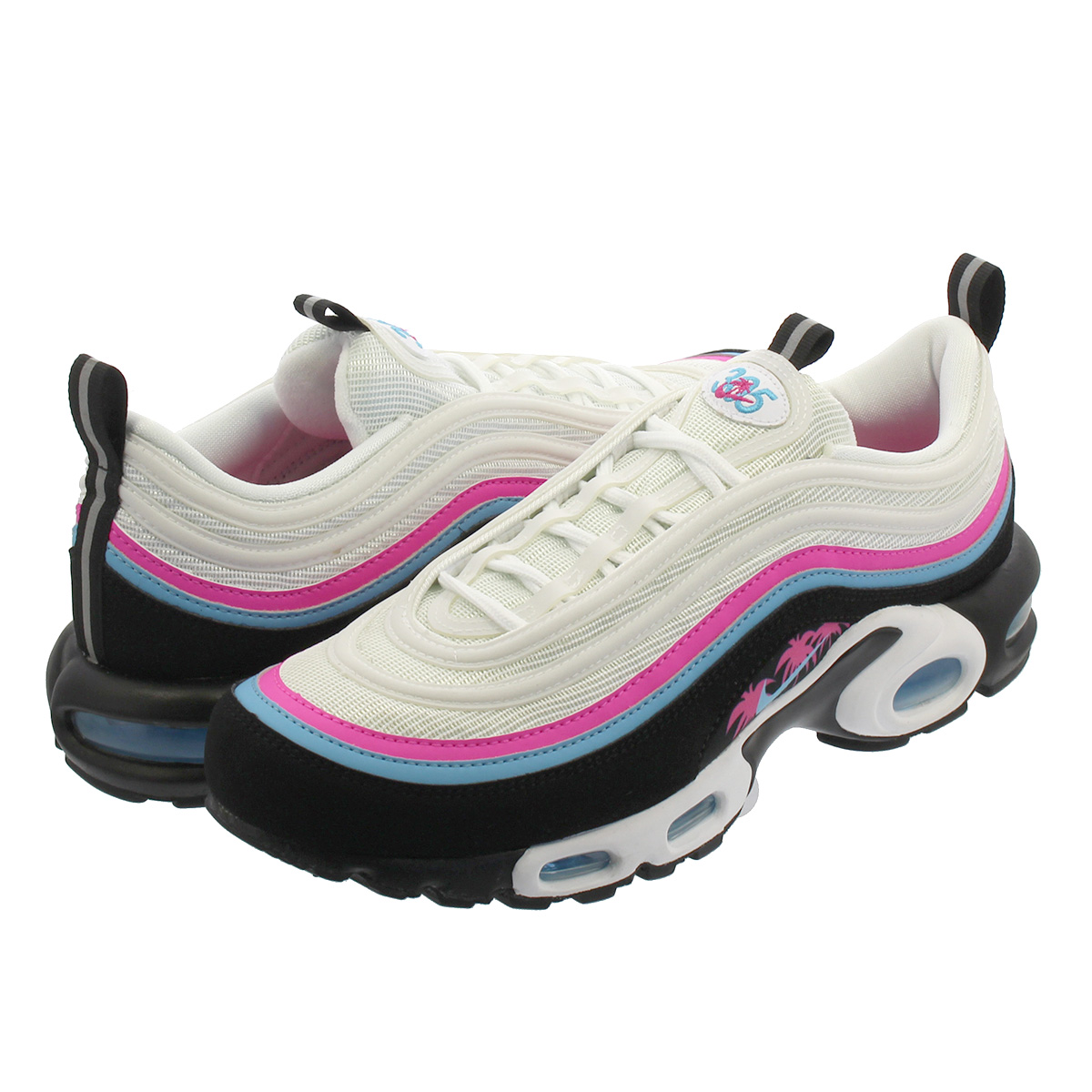 NIKE AIR MAX PLUS 97 Kie Ney AMAX +97 WHITE BLUE GALE BLACK LASER FUCHSIA  av7936-101 7657512a3