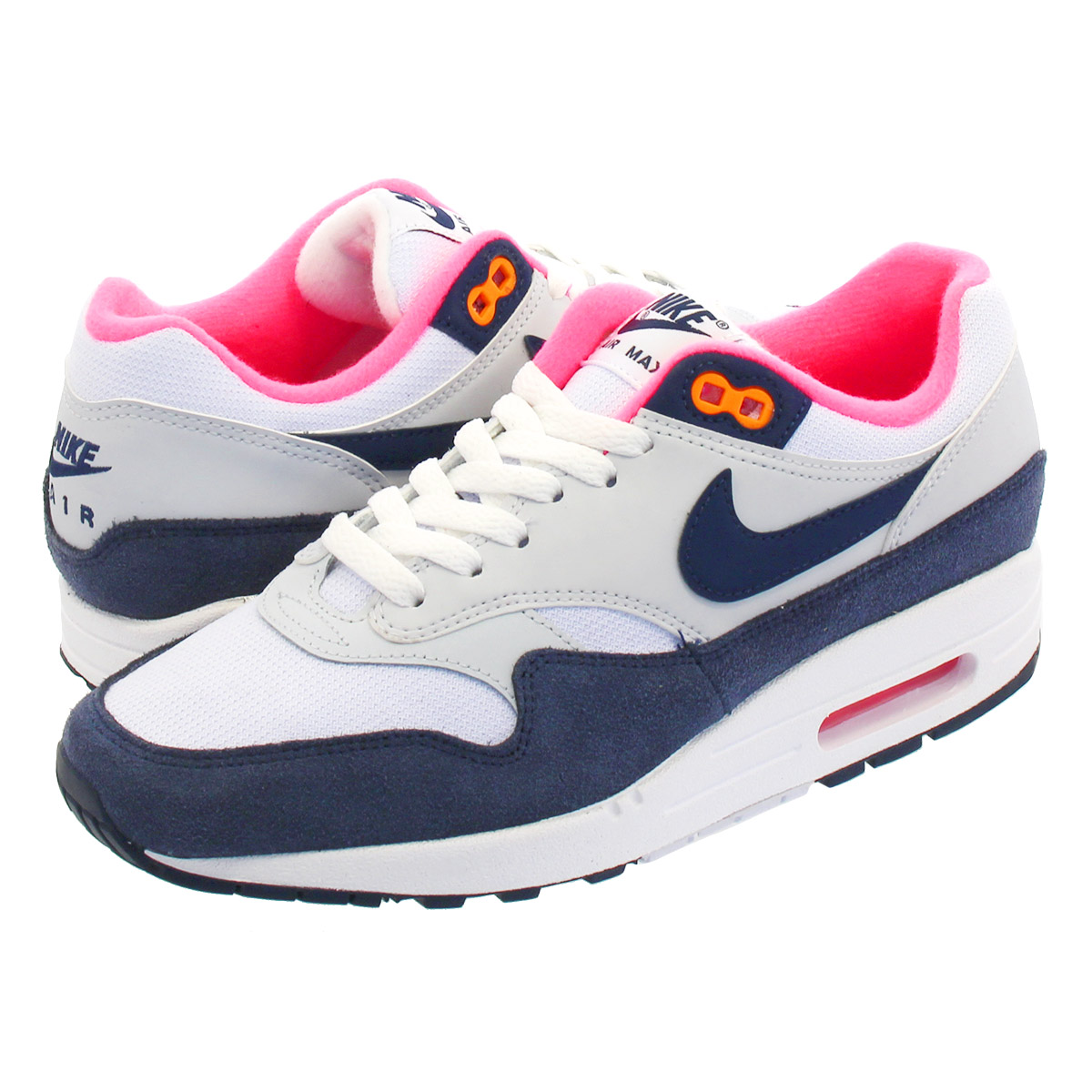 NIKE WMNS AIR MAX 1 Nike women Air Max 1 WHITEMIDNIGHT NAVYPURE PLATINUM 319,986 116