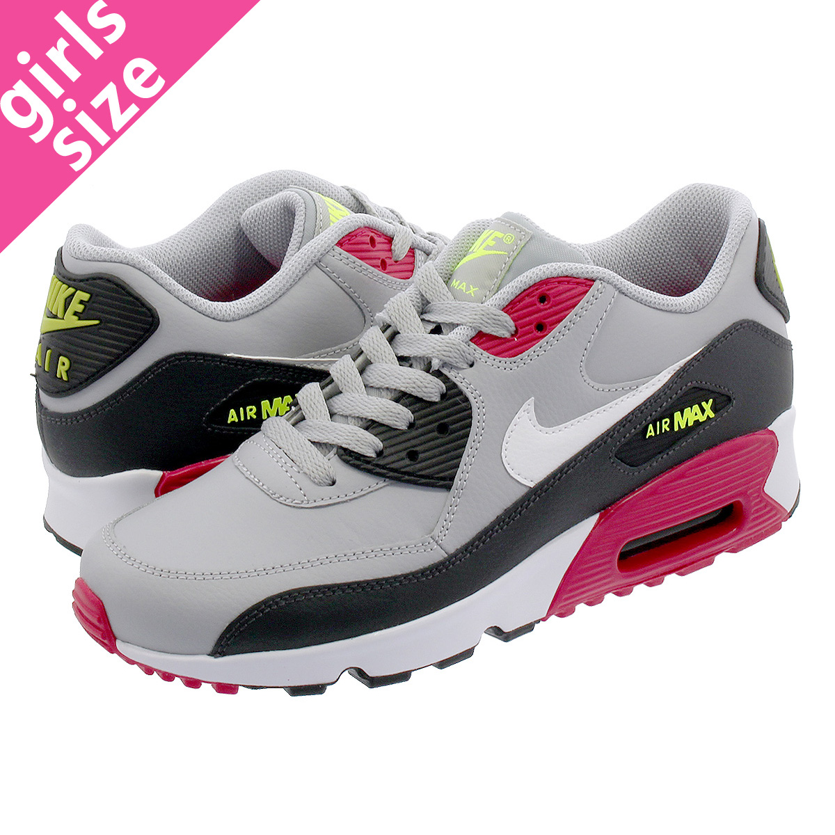 uk availability ed2e8 6b4f5 NIKE AIR MAX 90 LTR GS Kie Ney AMAX 90 leather GS WOLF GREY/RUSH PINK/VOLT  833,412-028