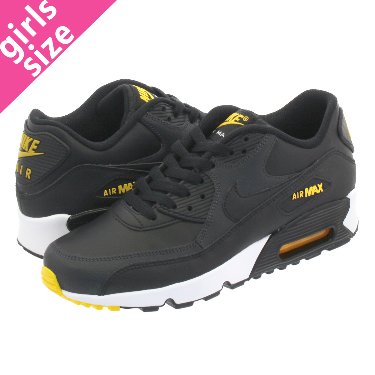 newest 9a4d4 223ea NIKE AIR MAX 90 LTR GS Kie Ney AMAX 90 leather GS BLACK/AMARILLO/ANTHRACITE  833,412-029