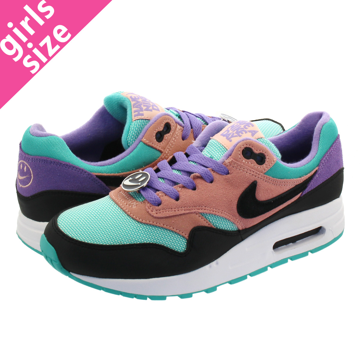 timeless design 343b9 2bd5c NIKE AIR MAX 1 NK DAY GS Kie Ney AMAX 1 NK DAY GS BLACK WHITE SPACE PURPLE  at8131-001