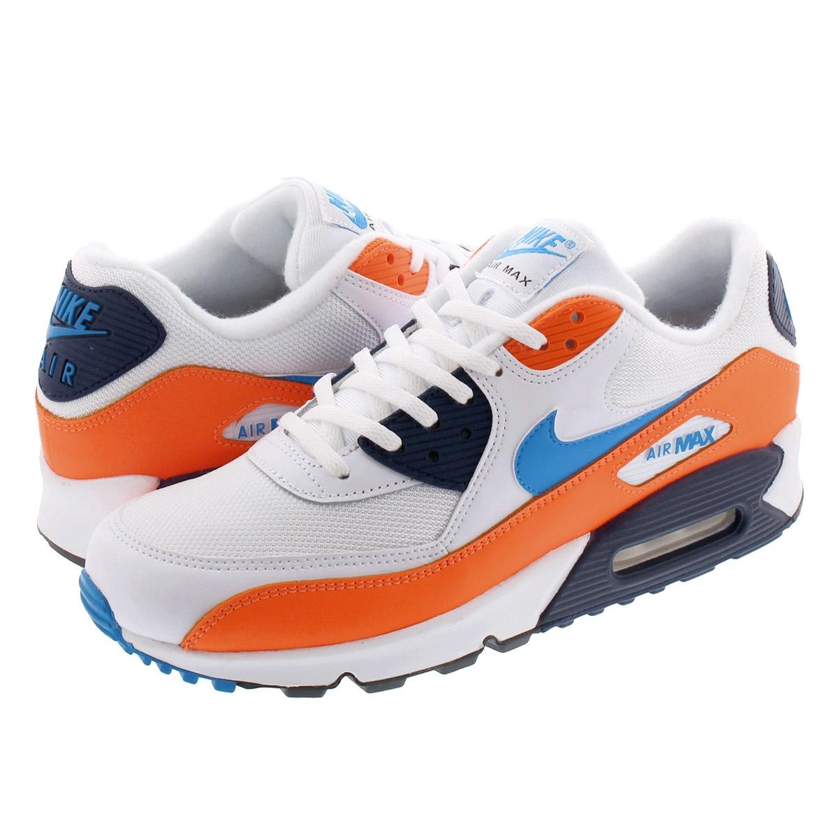 air max 90 essential white/photo blue-total orange
