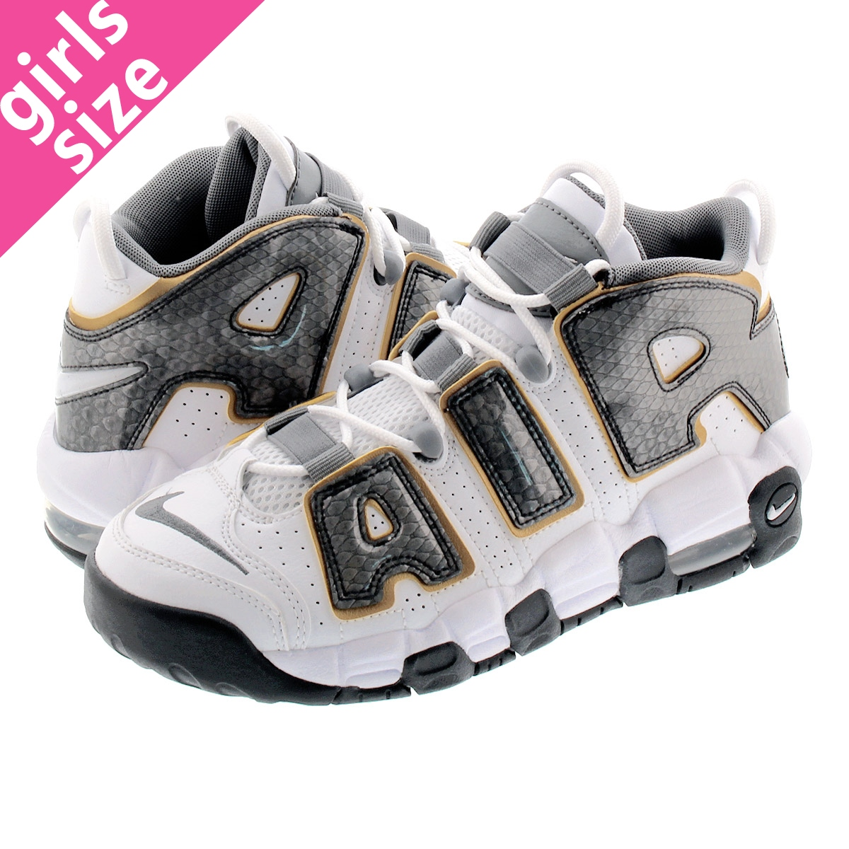 NIKE AIR MORE UPTEMPO GS ナイキ モア アップ テンポ GS WHITE/ANTHRACITE/METALLIC GOLD cq4583-100
