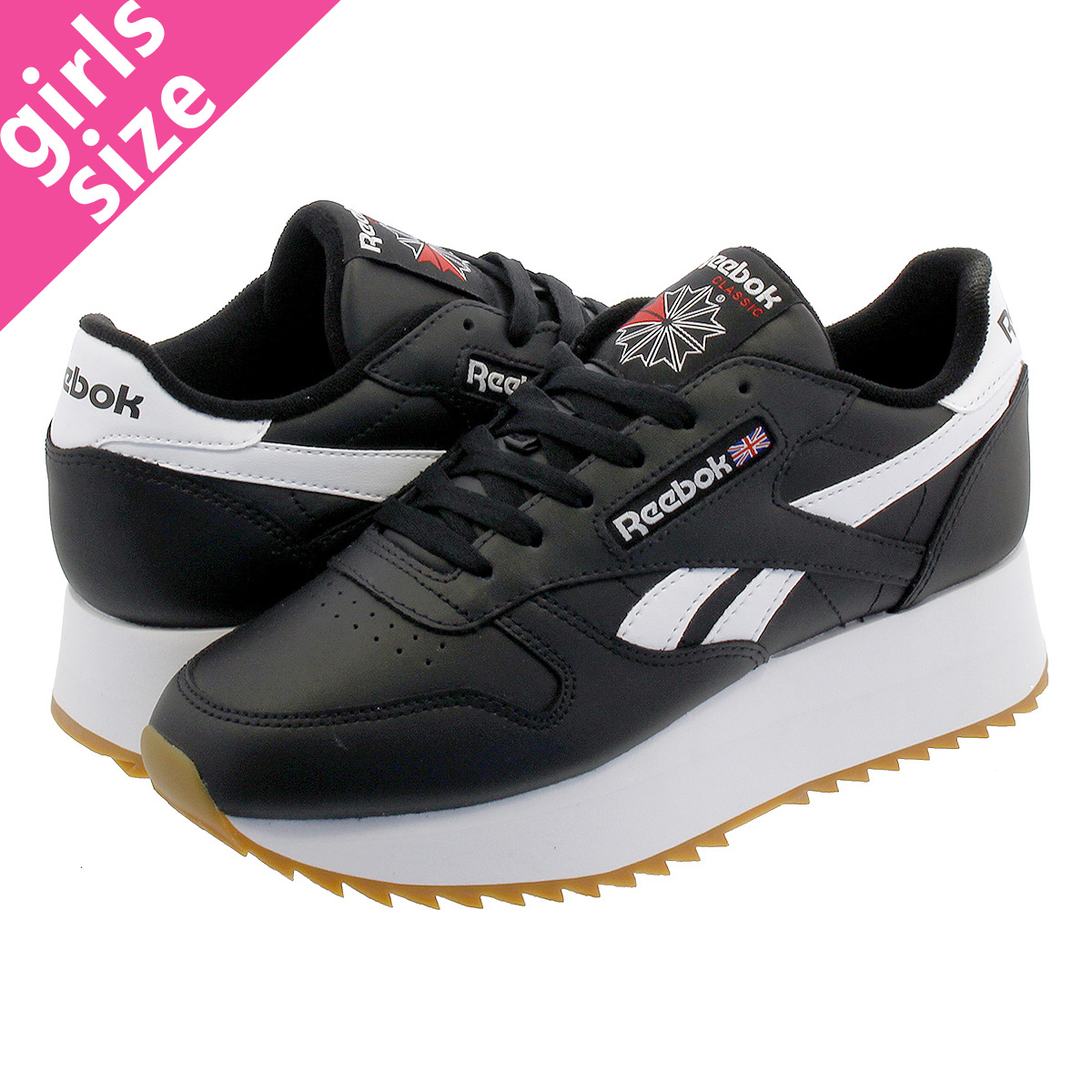 1578657a3240f5 Reebok CL LTHR DOUBLE EF Reebok classical music leather double EF BLACK  WHITE PRIMAL RED dv3631