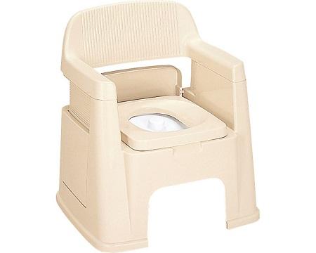 【お役立ちグッズ排泄】ポータブルトイレ 背もたれ型 / ベージュ