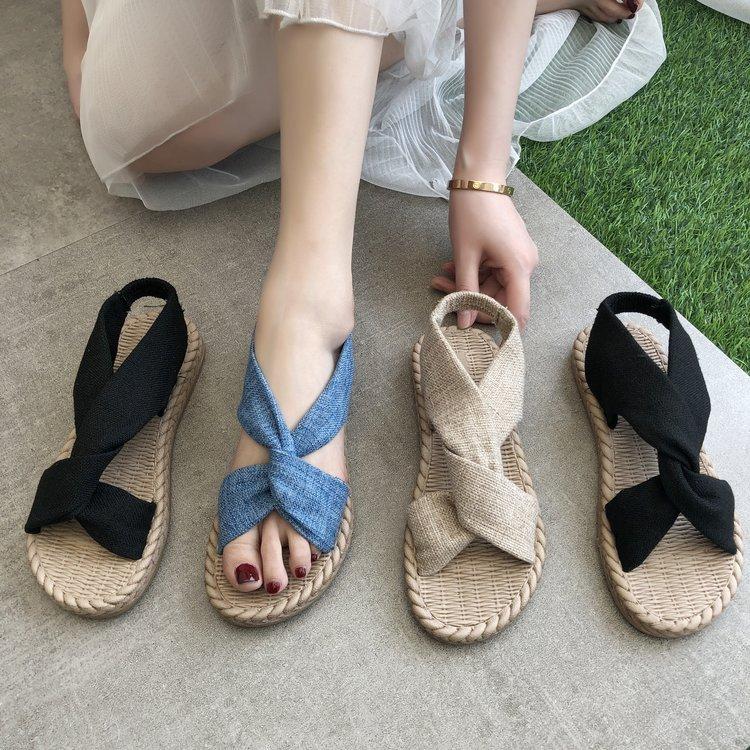 夏の大活躍サンダル レディース フラット棉麻素材 柔らかい素材 スリッパ フラワー 靴 日本最大級の品揃え ローヒール ぺたんこ 歩きやすい シューズ 返品送料無料