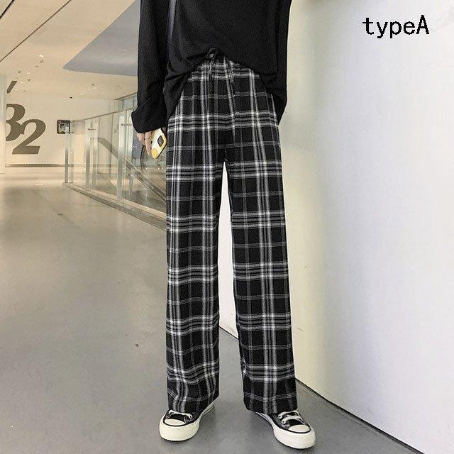 贈答 チェック柄 パンツ 日本最大級の品揃え レディース ボトムス ストレートパンツ イージパンツ