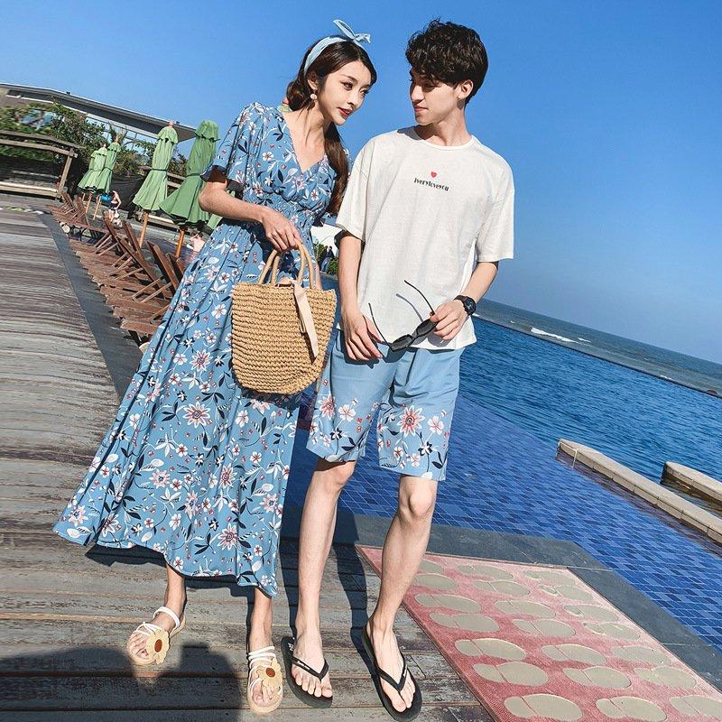 カップル ペアtシャツ 1年保証 半袖 ペアルック お揃い 服 夏 品質保証 花柄 デート おでかけコーデ オルチャンファッション パンツ おそろ
