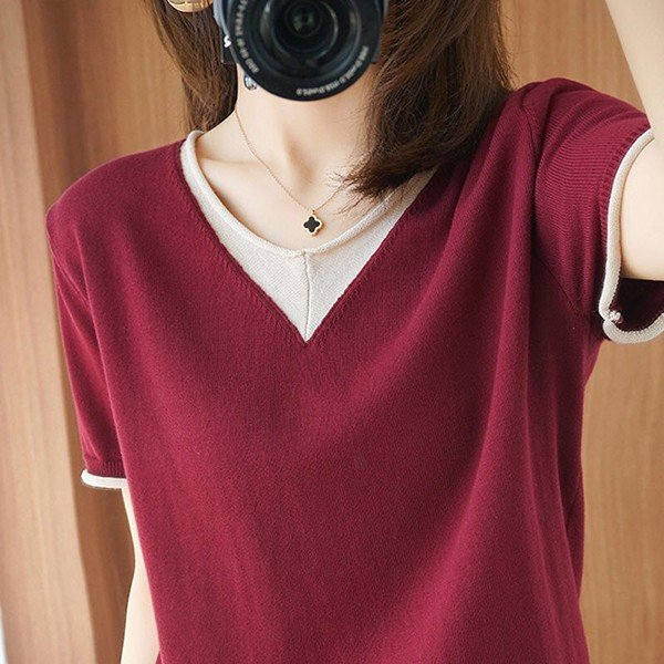 Tシャツ レディース 半袖 夏新作 ロング おしゃれ ニットトップス 半袖tシャツ カジュアル 買物 大きいサイズ 保証 体型カバー 40代 新品 Vネック 着痩せ きれいめ