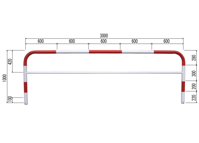 835-305◎カーストッパー 赤・白 W3000【代引き不可】