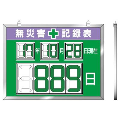 867-19デジタル数字型無災害記録表 数字板脱着式【代引き不可】