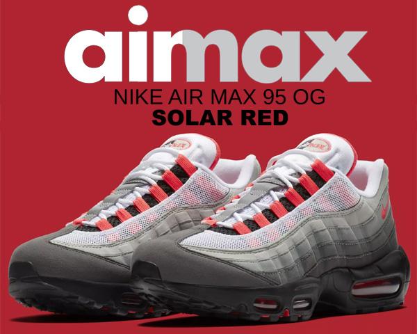 お得な割引クーポン発行中!!【送料無料 ナイキ エアマックス 95 OG】NIKE AIR MAX 95 OG white/solar red-granite-dust【スニーカー エア マックス 95 ソーラーレッド グラデーション】